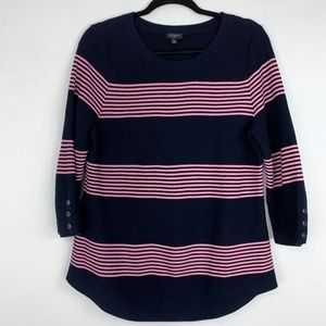 Talbots navy and pink striped 3/4 sleeve sweater